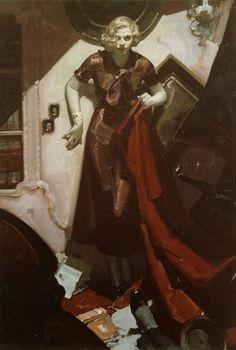 Noir pulp illustration by Mead Schaeffer, woman girl dame murder ransack crime danger