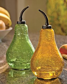 Pear fruit fly traps!! I love this idea for the kitchen during the summer...we have a huge harvest and the orchards seem to draw little fruity flies and I love to keep the windows and doors open!