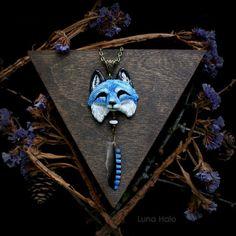 Snow fox, blue fox, blue fox jewelry, fox totem, fox necklace, jay feather