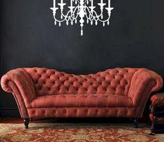 Berry leather tufted Recamier sofa - Horchow via Atticmag