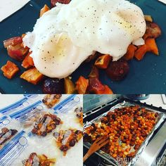This is currently my absolutely FAVORITE breakfast!!! I made the sweet potato mixture ahead of time froze it in individual servings with my favorite ziploc vacuum bags and then take one out in the morning microwave for 3 minutes and serve it with 2 over easy eggs. So delicious and so quick!! Recipe from health-bent.com . Ingredients 2 sweet potatoes peeled and diced 2 tart apples diced (I used Pink Lady) 2 packages (20) frozen sausage links cut into bite sized pieces juice of 1 generous…