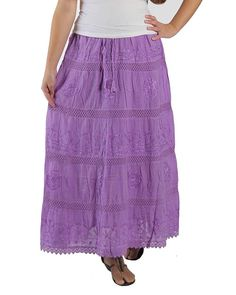 KayJayStyles Full Length Womens Solid Embroidered Gypsy Bohemian Long Cotton Skirt