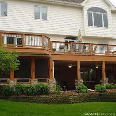 In building a screened-in deck, the floor should match your decking; however, if your property is best suited for a screened-in area UNDERNEATH an elevated deck, a patio often becomes the 'floor'.