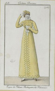 """Costume Parisien, 1808. """"Toque de Velours, Redingote a la Polonnaise"""""""