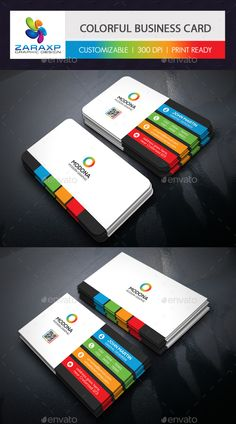 Colorful Business Card Template PSD #design Download: http://graphicriver.net/item/colorful-business-card/14123721?ref=ksioks