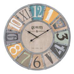 Reloj de madera y metal con remaches D. 60cm EDWIN