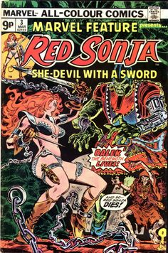 Feature Series March 1976 Marvel Comics Grade NM - -Marvel Feature Series March 1976 Marvel Comics Grade NM - - Sword and Sorcery Week! The Grooviest Covers of All Time: Big Red! Heavy Metal Magazine 253 Shanna the She-Devil Cover by Jim S. Marvel Comics, Conan Comics, Marvel Comic Books, Comic Book Characters, Comic Character, Comic Books Art, Comic Art, Book Art, Horror Comics