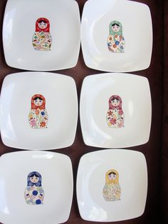 i7jm China Painting, Dot Painting, Ceramic Painting, Service Assiette, Square Plates, Ginger Jars, China Patterns, China Porcelain, Porcelain Tiles