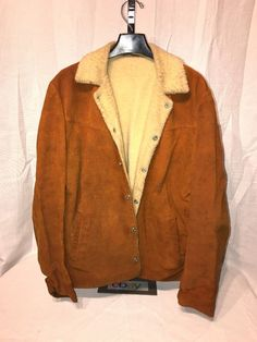 Vintage Levi Big E Suede Leather sherpa Trucker Jacket Snap Size L #Sherpa #BasicCoat
