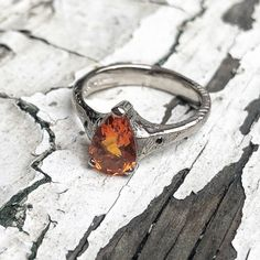 Fire opal in 18ct white gold.  #fireopal #engagementrings #alternativeengagementring   Www.janicebyrnegoldsmith.com Alternative Engagement Rings, Druzy Ring, Bespoke, Opal, My Design, White Gold, Fire, Jewelry, Taylormade