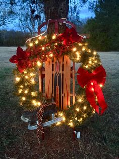 2016 christmas decoration created from a vintage sled and ice skates with a pre lit - Hobby Lobby Christmas Decorations 2016