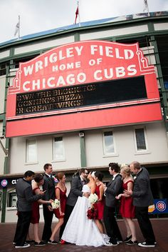 The Bacons Group Shot At Wrigley Field In Chicago Before Ceremony Photos By Jordanquinn Photography
