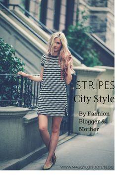 @amberlfillerup wearing our Maggy London Striped Shirt Dress