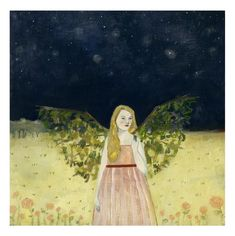 Charlotte wore wings made of the forest print by Amanda Blake