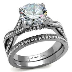 A Perfect 2CT Solitaire Round Cut Russian Lab Diamond Ring Bridal Set Infinity Band