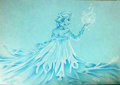 Elsa, Frozen Pastell and pen gel white 20X10 Jessica Ramella 2014 Only an act of true love can thaw a frozen heart. #frozen #elsa #ice #queen #draw