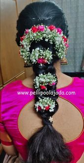 Order Fresh flower poolajada, bridal accessories from our local branches present over SouthIndia, Mumbai, Delhi, Singapore and USA. Indian Bun Hairstyles, Saree Hairstyles, Fishtail Braid Hairstyles, Bride Hairstyles, Hairstyle Ideas, Bridal Hairstyle Indian Wedding, South Indian Bride Hairstyle, Bridal Hair Buns, Engagement Hairstyles