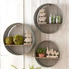 Create a sweet display in your home and hang our Round Caged Metal Wall Shelves  in your bathroom, hallway, entryway, living room, bedroom, or dining room. For more wall decor please visit Decor Steals