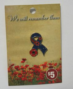 Ribbon Poppy Lapel Pin -REMEMBRANCE  DAY - Remembrance Day, Lapel Pins, Poppy, Ribbon, Gifts, Painting, Ebay, Art, Tape
