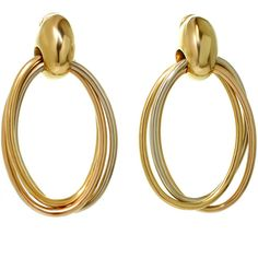 Preowned Cartier 1990s Trinity Tri-gold Oval Drop Hoop Earrings ($5,300) ❤ liked on Polyvore featuring jewelry, earrings, multiple, yellow earrings, white gold earrings, yellow dangle earrings, 18 karat gold earrings and gold oval earrings