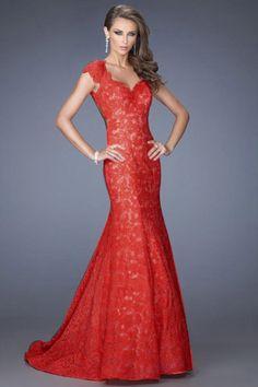 2014 Formal Dresses Mermaid Long Black & Red Lace Open Back USD 189.99 VUPNMNGQFE - VoguePromDressesUK