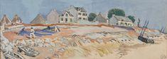 """Mathurin MEHEUT (1882-1958), """"Séchage des filets et barque au sec"""", aquarelle"""