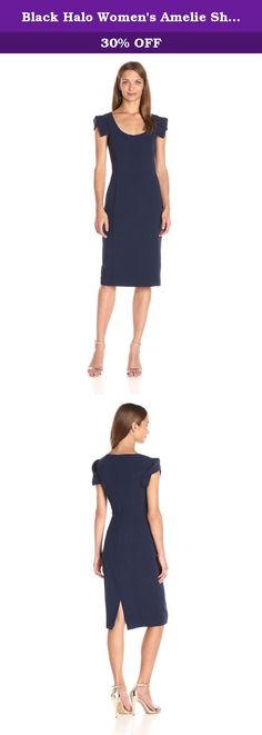 Black Halo Women's Amelie Sheath Dress, Pacific Blue, 12. Scoop-neck sheath dress featuring tonal princess seaming and origami-style cap sleeves with decorative folds.