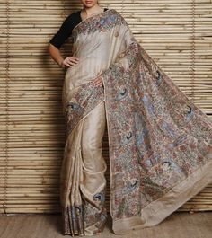 Beige Tussar Silk Saree With Hand Painted Madhubani