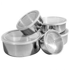 Conjunto de Potes e Tigelas Organizadoras Inox com Tampas 5 peças - Travel Max