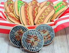 Summer bbq hot dog grilling cookie idea