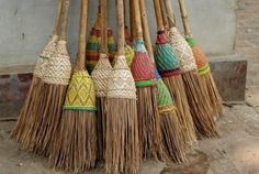 brooms - I just love these...decorative and you always see Greek or Spanish ladies brushing in front of their homes - back and forth in a rhythm from centuries of custom.