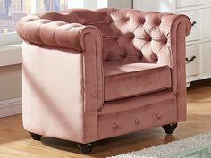 Fauteuil confort en velours rose pastel - CHESTERFIELD