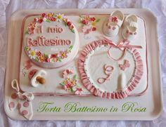 """La ricetta della felicità: Torta"""" Battesimo in Rosa"""" con farfalle, fiori e pois!"""