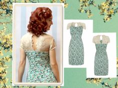 Duck egg and ivory blossom Alessia dress from Nancy Mac