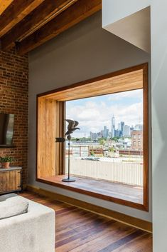 Brooklyn Upside Down with Views Modern Home in New York by arDesign /…,Modern home with Windows, Picture Window Type, and Wood. Bay window is angled to capture Manhattan skyline views Photo 6 of Brooklyn Upside Down with . Home Interior Design, Interior And Exterior, Window Types, Modern Windows, Modern Window Seat, Windows And Doors, Bay Windows, Home Windows, Interior Windows