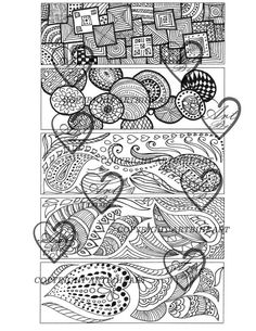 5 Bookmarks to color, digital download, bookmarks, coloring, adult coloring, coloring bookmarks, zendoodle coloring,
