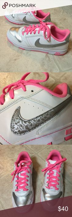 Hot Pink Nike's Hot pink and silver Nike's! Size US 9! Women's shoes. Not brand new but in great condition!! Nike Shoes Athletic Shoes