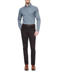 Geometric-Print Long-Sleeve Sport Shirt & Stelvio Five-Pocket Denim Jeans by Brioni at Neiman Marcus.