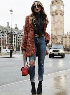 Women Clothing Cute rust shaggy jacket over black top and trendy distressed denim jeans with chic leather belt. Women Clothing Source : Cute rust shaggy jacket over black top and trendy distressed denim jeans Booties Outfit, Fur Coat Outfit, Fall Winter Outfits, Winter Fashion, Casual Winter, Summer Outfits, Casual Outfits, Mens Winter, Black Outfits