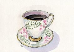 Tea Cup Watercolor Painting Art Teacup with Coffee by jojolarue, $25.00