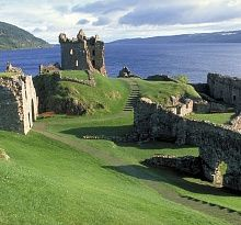 Urquhart Castle beside Loch Ness in the Highlands of Scotland. It is near this castle that the majority of Nessie sightings occur.