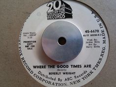 BEVERLY WRIGHT - Where The Good Times Are - CENTURY FOX  45s   Northern Soul