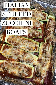 These ITALIAN STUFFED ZUCCHINI BOATS are made with lean ground turkey and fresh veggies, topped with cheese and toasted bread crumbs.