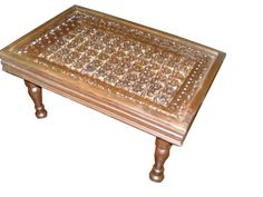 Antique Furniture From India Floral Carved Coffee Table Teak Wood