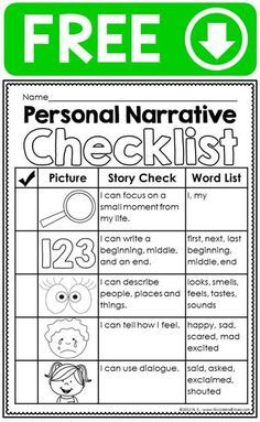 FREE personal narrative ideas chart, writing checklist, graphic organizer & differentiated primary lined stationary
