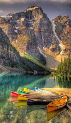 Colorful canoes on Moraine Lake.