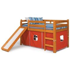 Twin Loft Bed - Red Tent, Slide, Honey Finish | DCG Stores