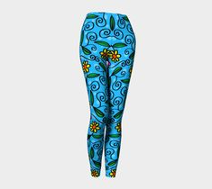 Cartoon Flower Leggings, Leggings by Brittany Bonnell. Printed leggings with compression fit performance fabric milled in Montreal Cartoon Flowers, Shop Art, Design Lab, Printed Leggings, Paper Goods, Brittany, Stationery, Vibrant, Artist