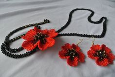 "Ukrainian necklacekr, necklace with poppies, Ukrainian Gerdan, earrings with poppies. Set Beaded ""Carmen"""