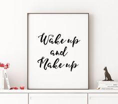 GIRL BATHROOM DECOR Wake Up and Make Up Fashion by TheCasaNova